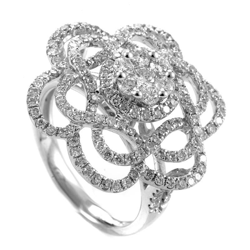 14K White Gold Diamond Flower Ring RS04230W