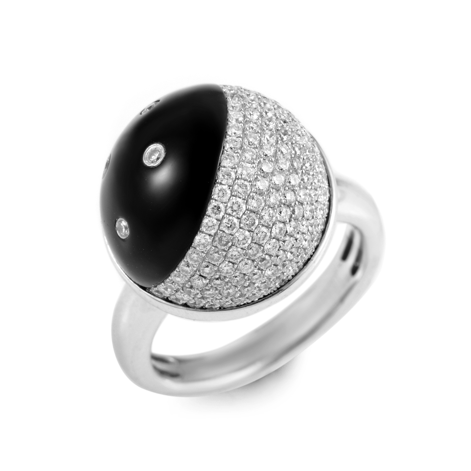 18K White Gold Onyx & Diamond Ring R-14-021016