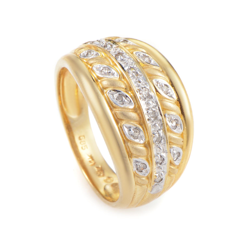 14K Yellow & White Gold Diamond Band Ring R-1-031616