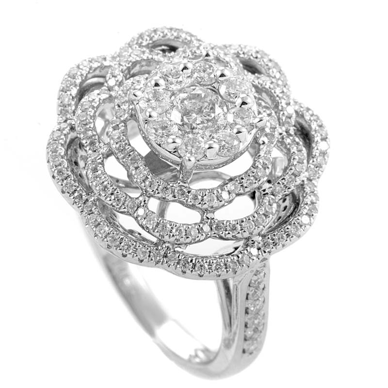 14K White Gold Diamond Flower Ring SDR07756W