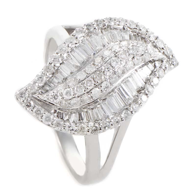 14K White Gold Diamond Pave Leaf Ring SDR5192