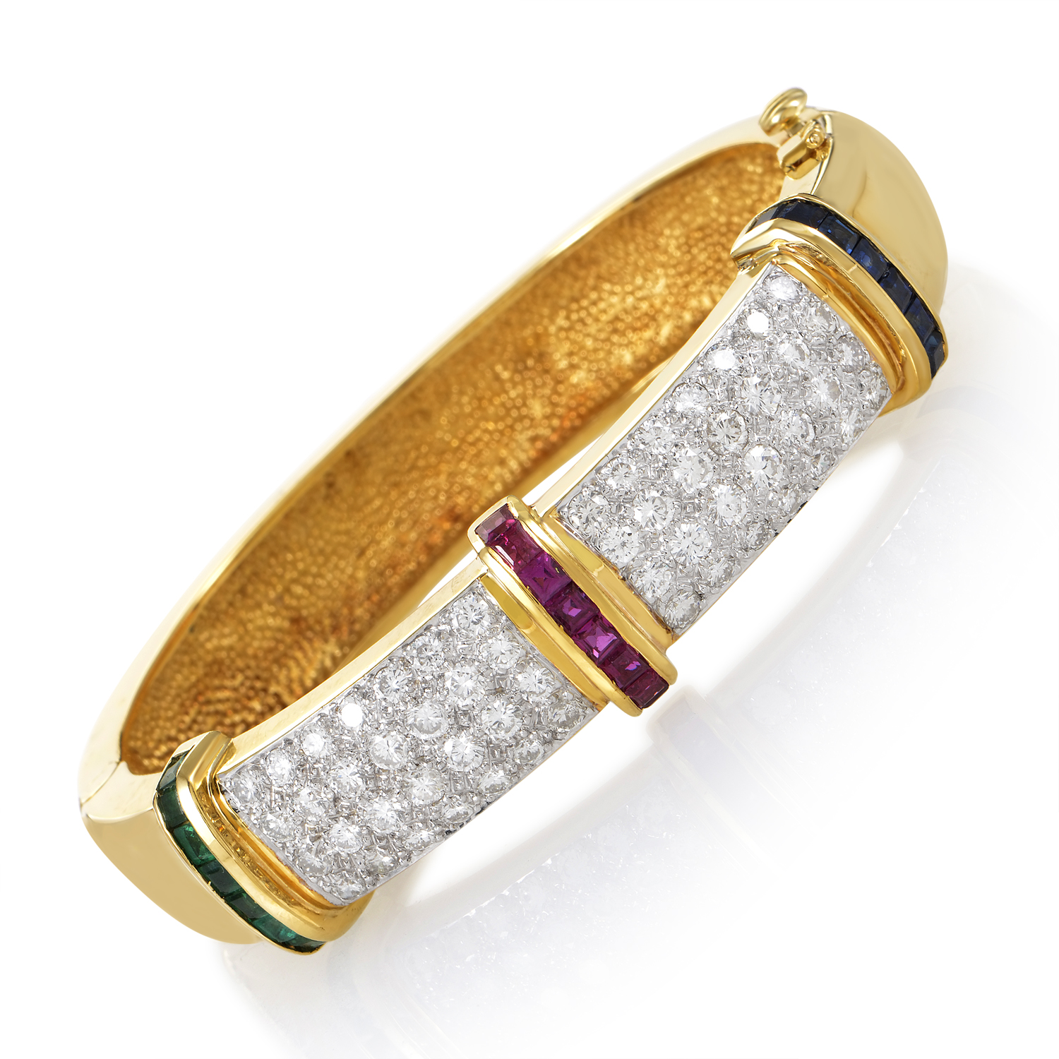 Women's 18K Yellow Gold Diamond Pave & Precious Gemstone Bangle Bracelet