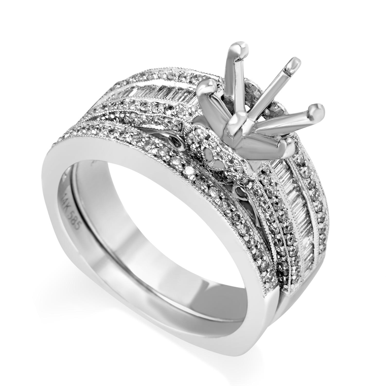 Women's 14K White Gold Diamond Bridal Mounting Set SM4-072303W
