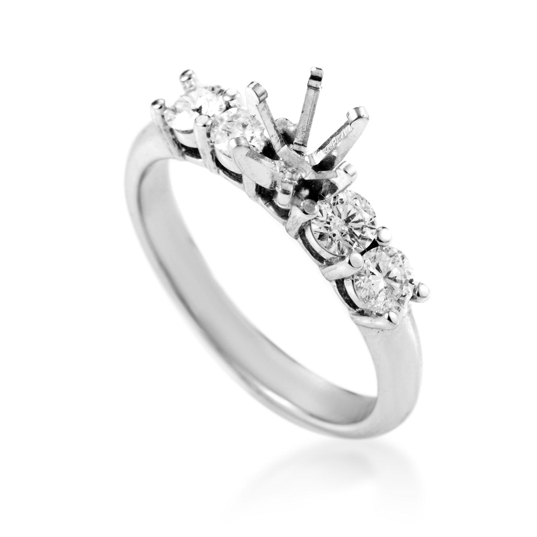 14K White Gold Diamond Engagement Ring Mounting SM4-061425W