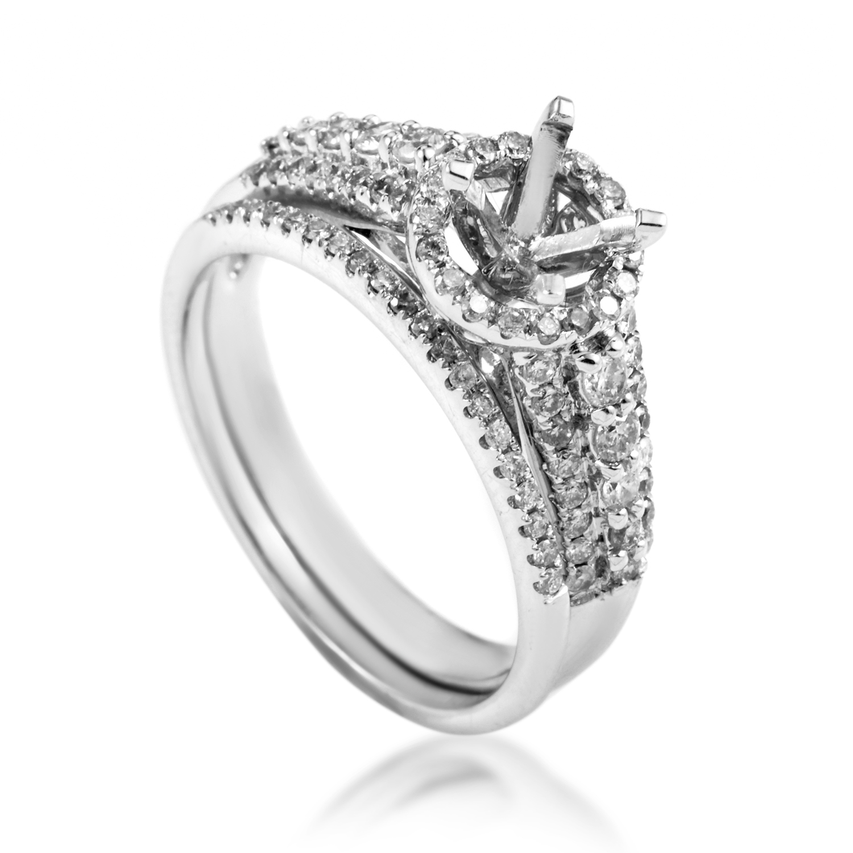 14K White Gold Diamond Bridal Mounting Set SM4-061578W