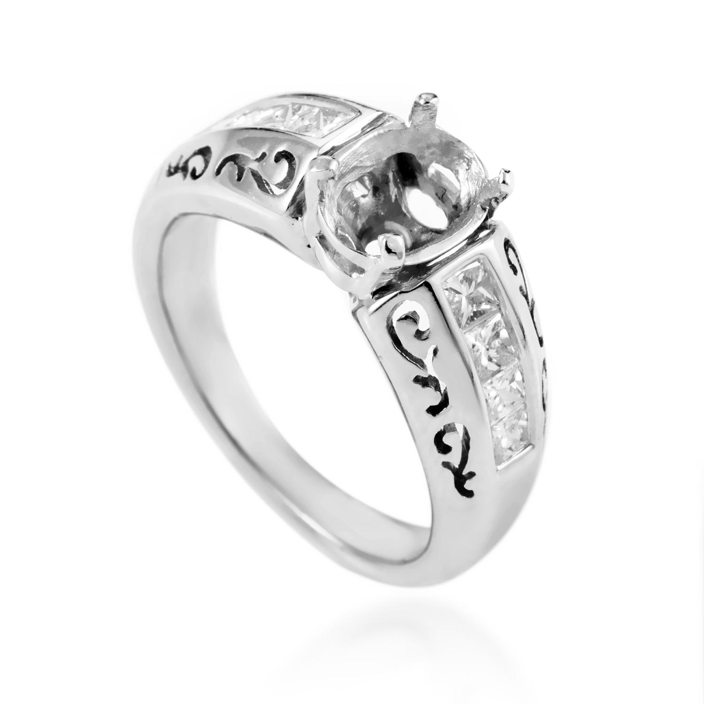 14K White Gold Diamond Engagement Ring Mounting SM4-071861W