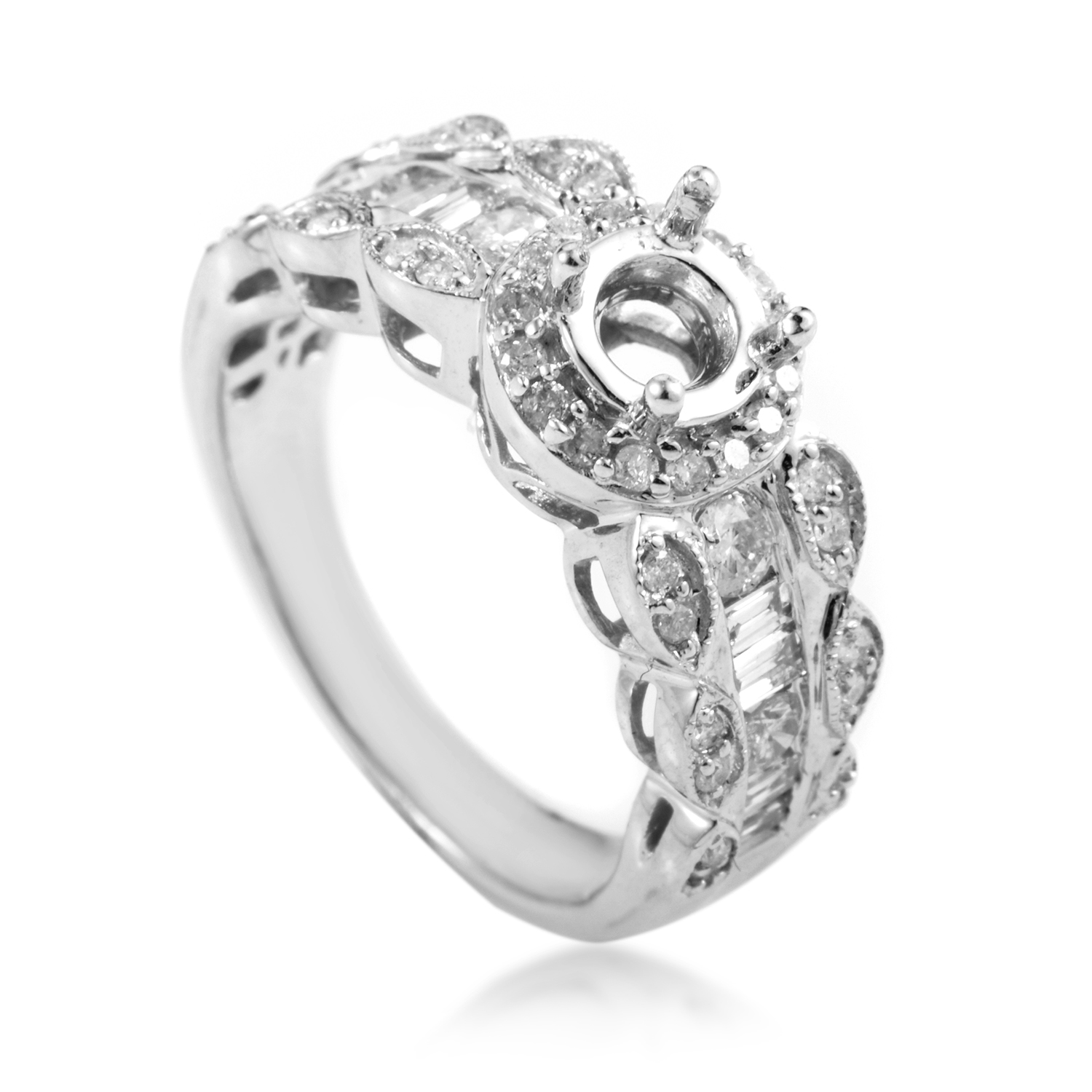 14K White Gold Diamond Engagement Ring Mounting SM4-081501W