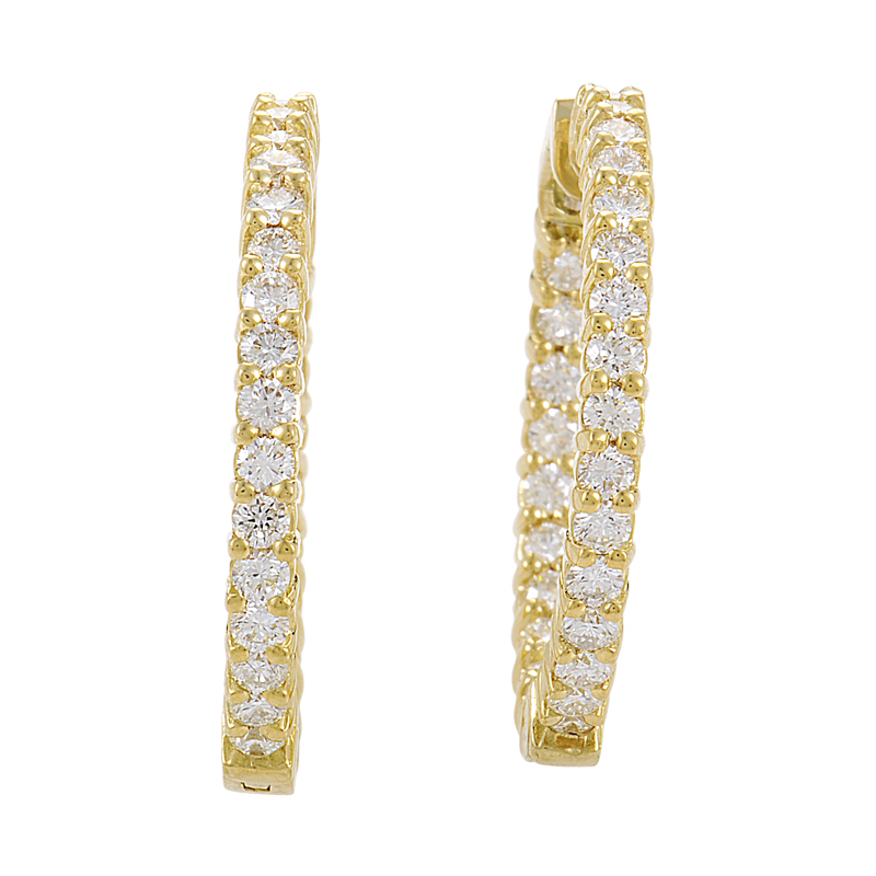 18K Yellow Gold Diamond Hoop Earrings SN0091664AB