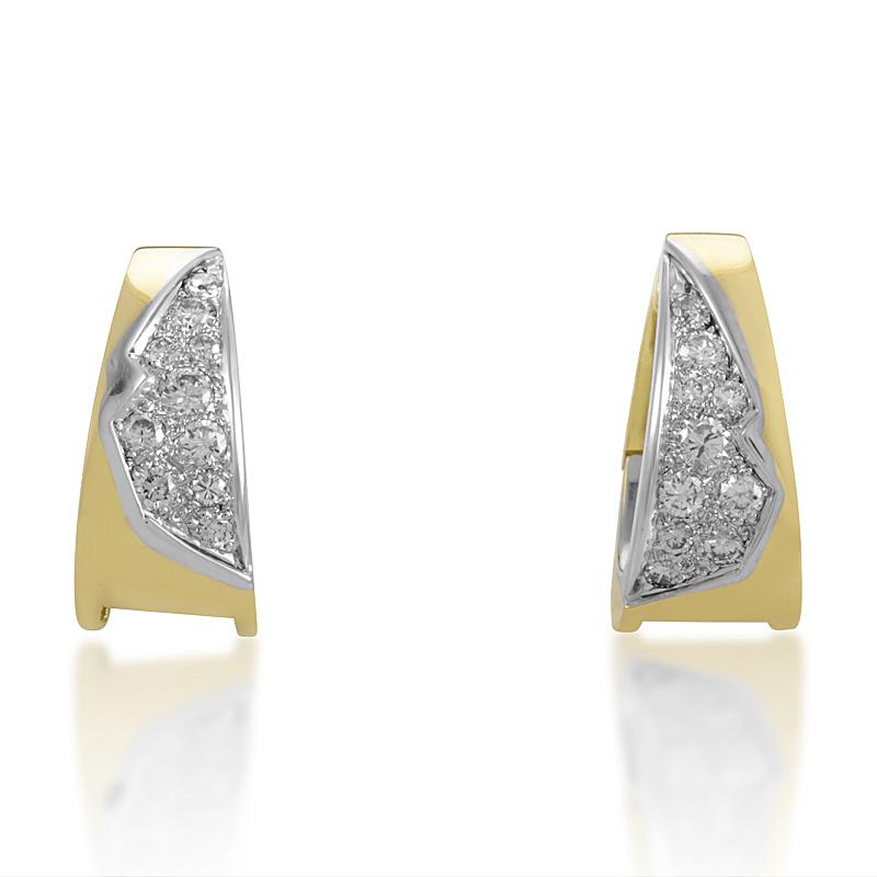 Vintage 18K Yellow & White Gold Diamond Earrings SN0093501AA