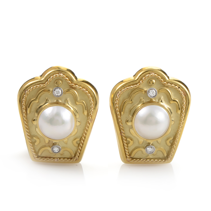 18K Yellow Gold Mabe Pearl & Diamond Clip-On Earrings