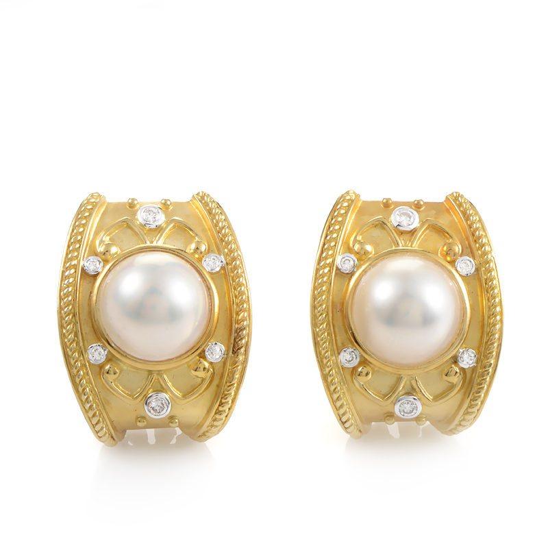 18K Yellow Gold Mabe Pearl & Diamond Clip-On Earrings SN0095408AFER2