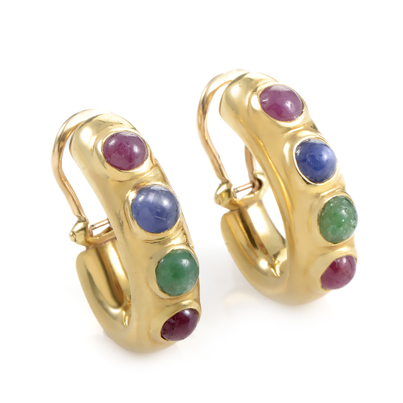 18K Yellow Gold Gold Precious Gemstone Huggie Clip-On Earrings