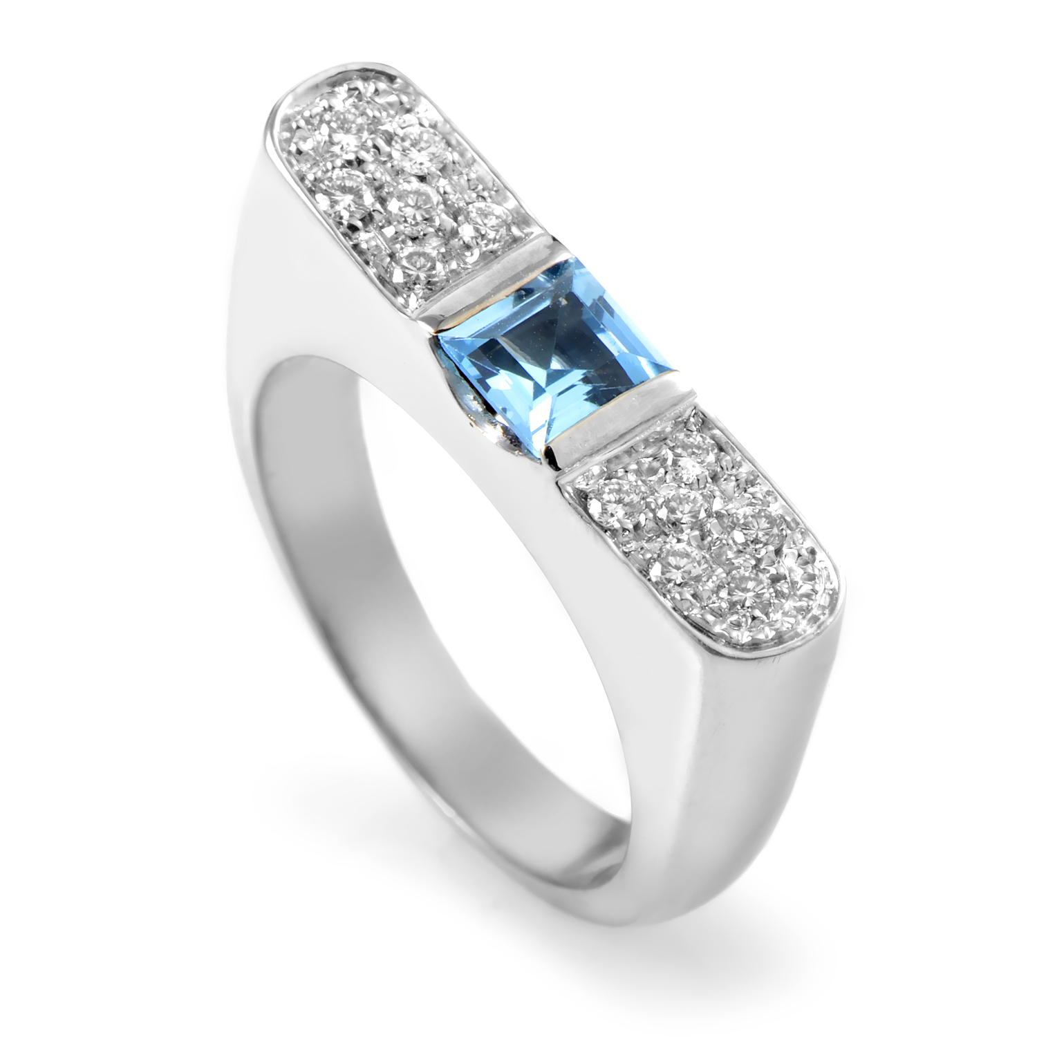 18K White Gold Diamond & Topaz Ring SN0098633ALTPZ