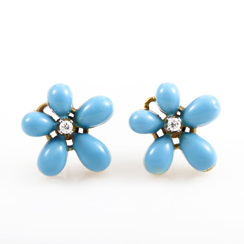 18K Yellow Gold Diamond & Turquoise Flower Earrings SN0099907AB