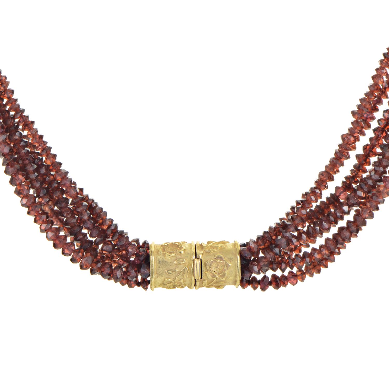 18K Yellow Gold Garnet Bead Necklace