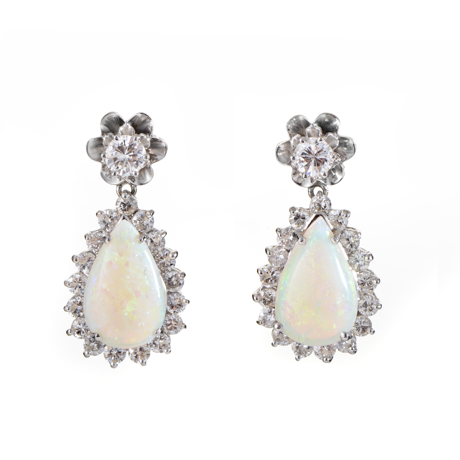 14K White Gold Diamond & Opal Dangle Earrings