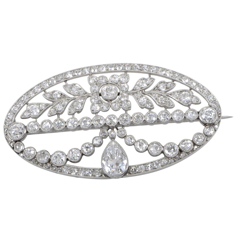 Women's Platinum & Diamond Oval Brooch