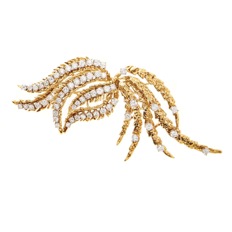 Women's 18K Yellow & White Gold Diamond Brooch