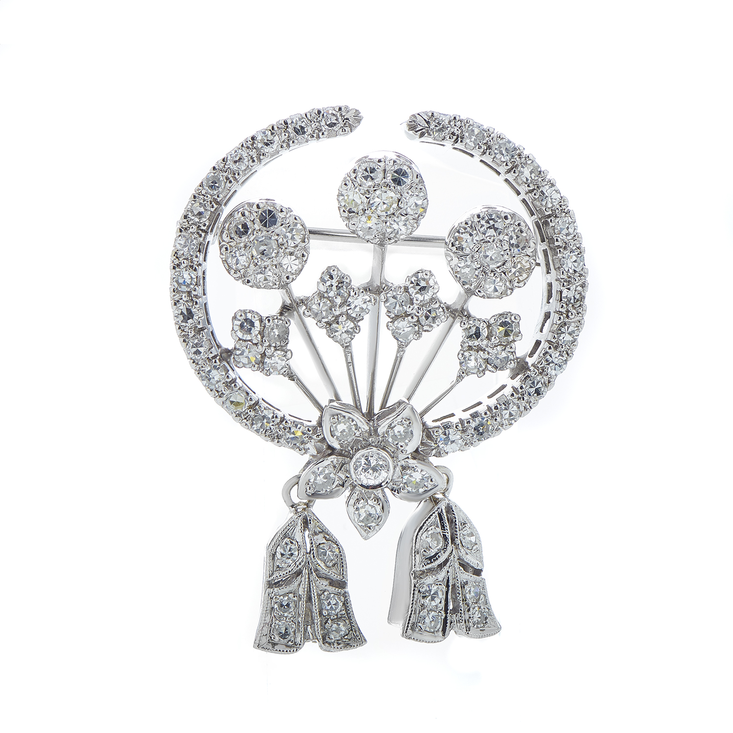 Women's Platinum Diamond Pave Floral Pin