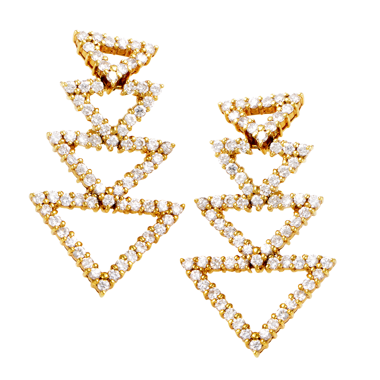 18K Yellow Gold Diamond Triangle Earrings ST-12