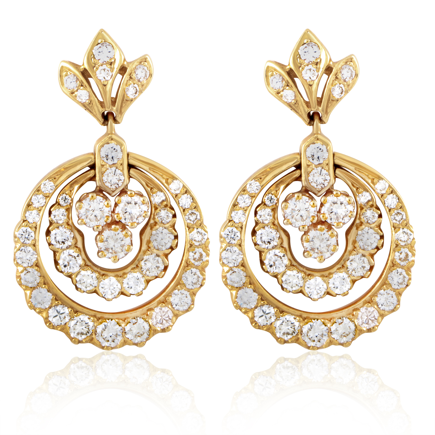 18K Yellow Gold Diamond Dangle Earrings ST-14-021016
