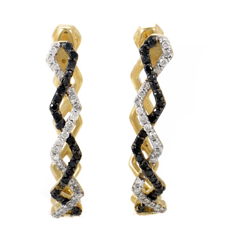 14K Yellow Gold Black & White Diamond Hoop Earrings SVE002680EY