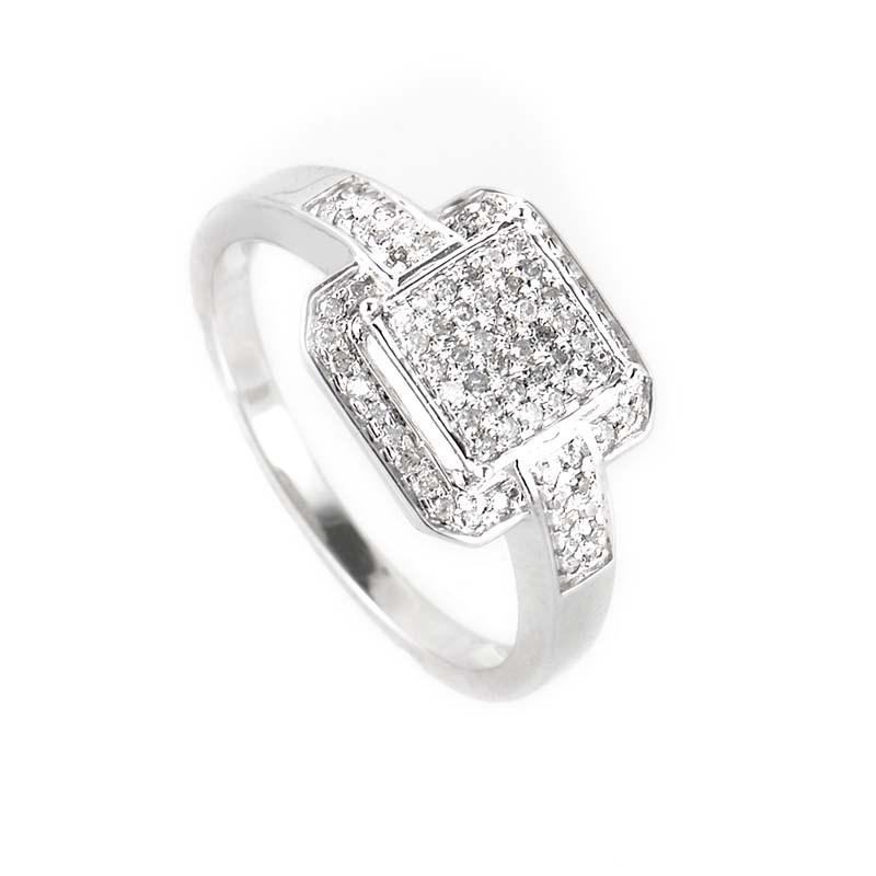 Sophisticated 10K White Gold Diamond Ring