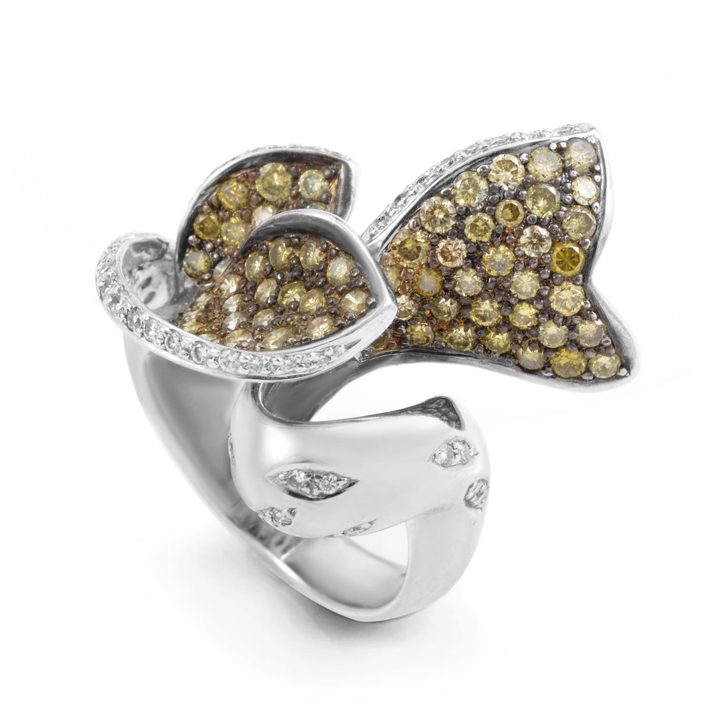 18K White Gold Champagne Diamond Ring T4504