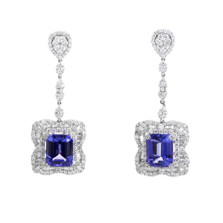 18K White Gold Tanzanite & Diamond Drop Earrings VR-26