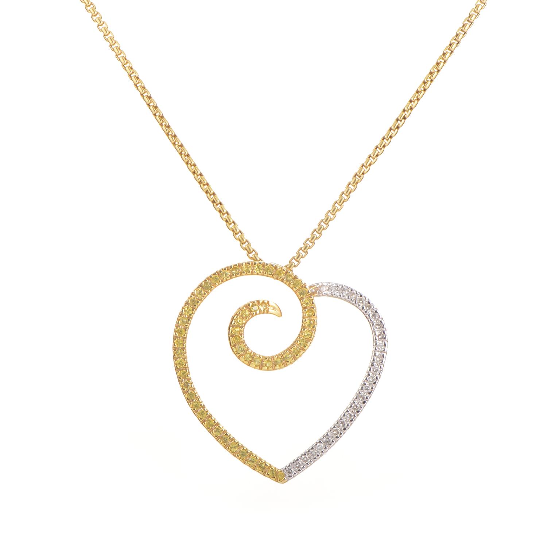 18K Multi-Tone Gold Diamond & Yellow Sapphire Pendant Necklace X-41/2-021016