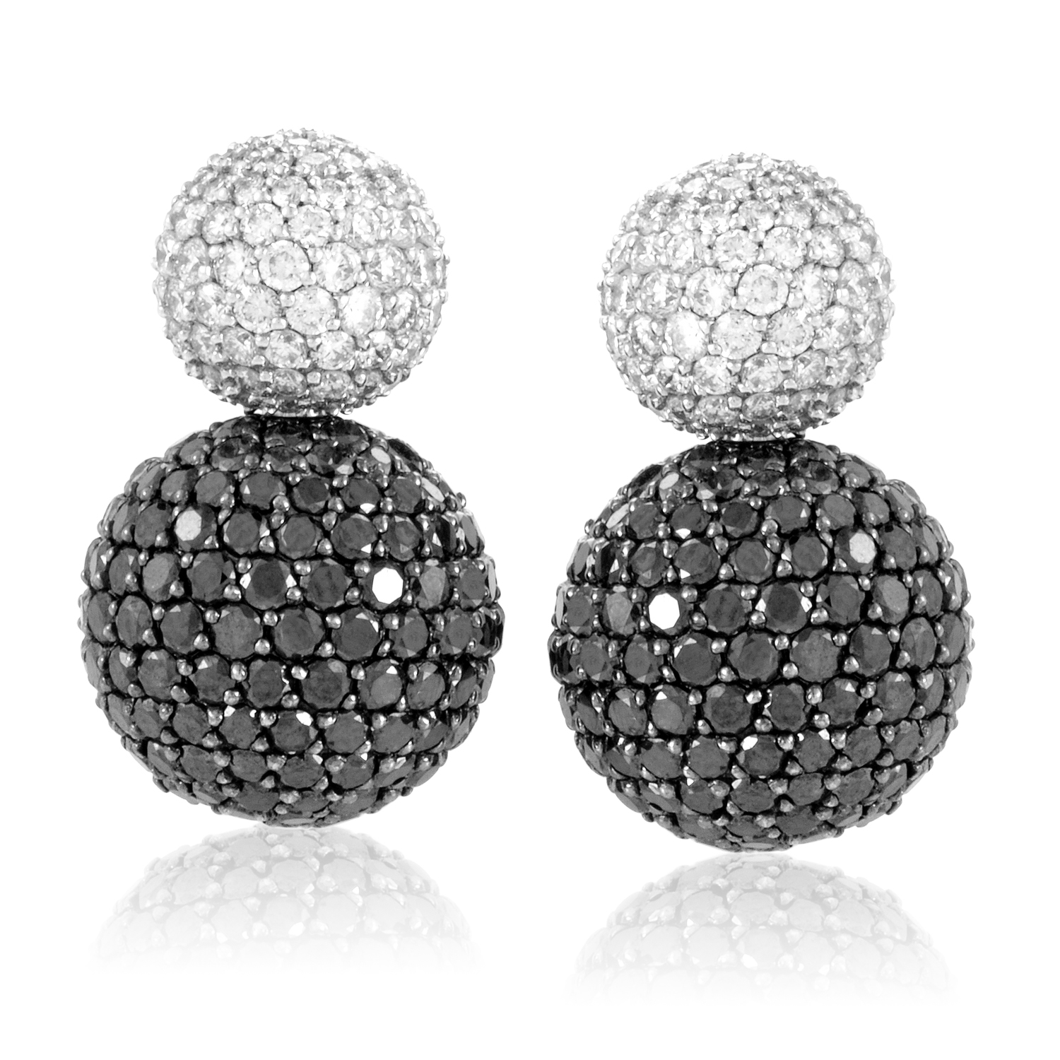 18K White Gold Black & White Diamond Pave Earrings Z-108-021016