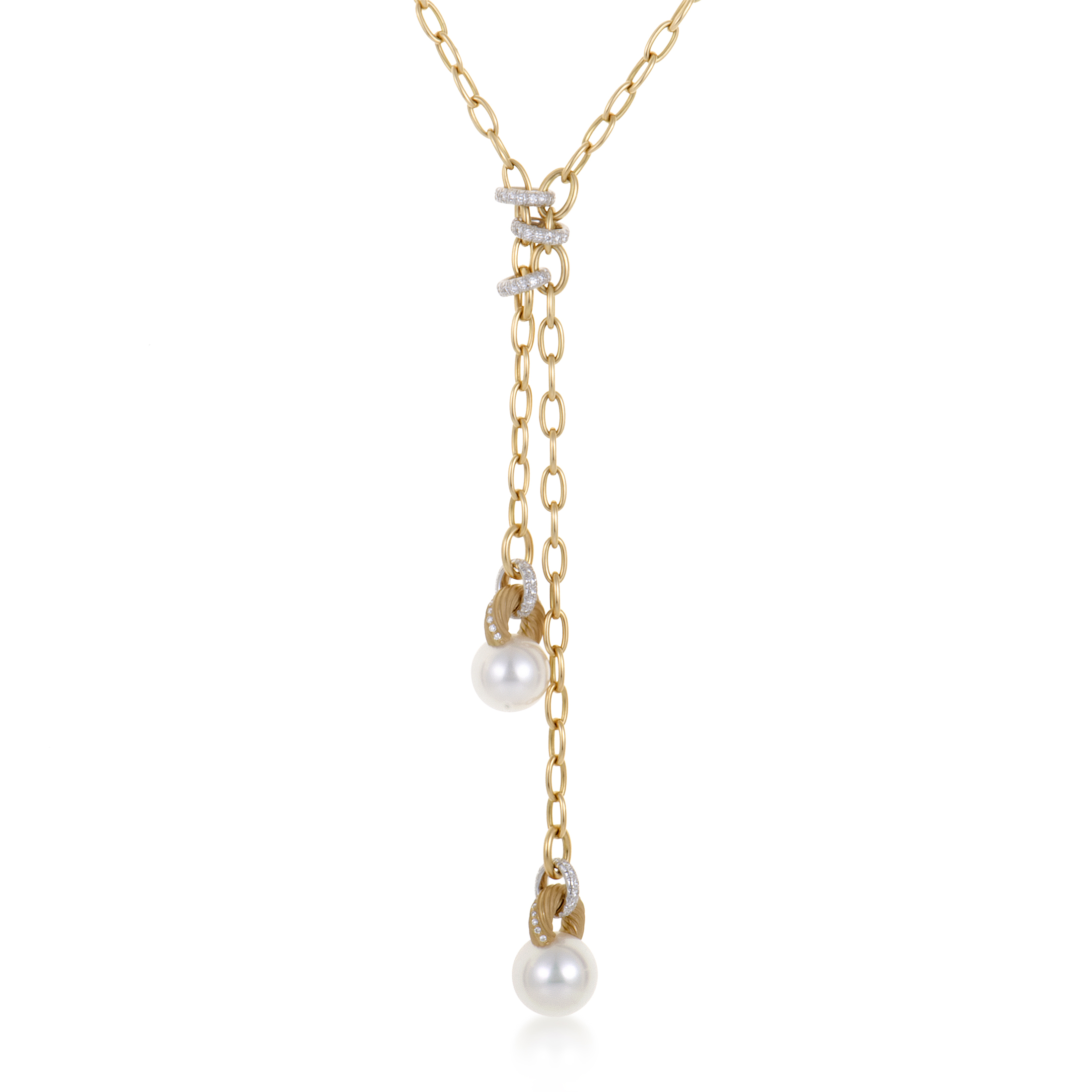 White Pearl Pendant Necklace: Mikimoto 18K Yellow And White Gold Diamond And Pearl
