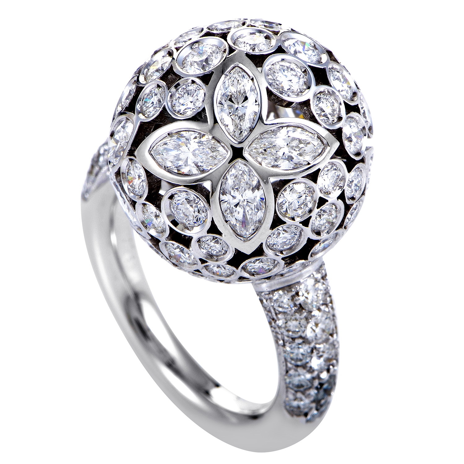 Women's 18K White Gold Floral Diamond Sphere Ring
