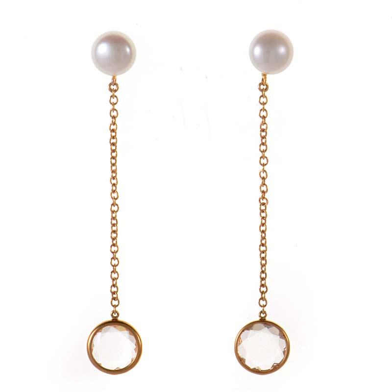 Women's 18K Multi-Tone Gold White Topaz & Pearl Drop Earrings