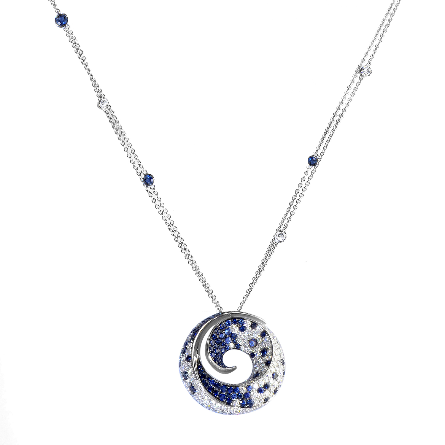 Women's 18K White Gold Diamond & Sapphire Pendant Necklace 21929286