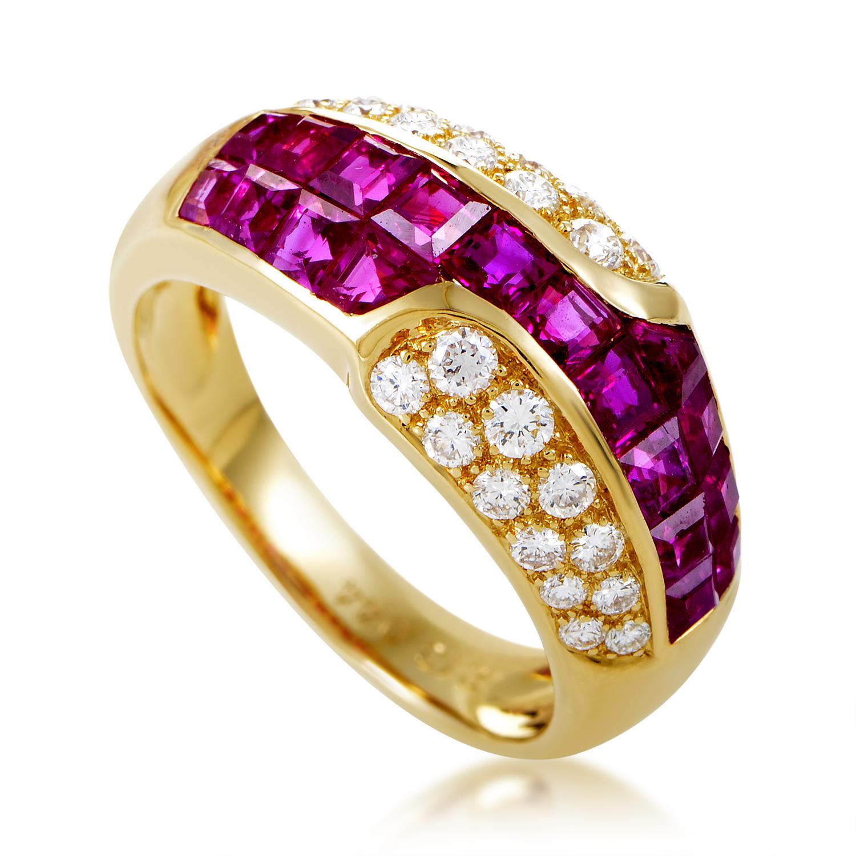 Mouawad Women's 18K Yellow Gold Diamond & Ruby Band Ring