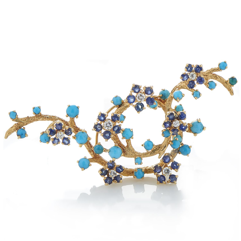 Women's 14K Yellow Gold Diamond & Blue Gemstone Flowering Branch Brooch