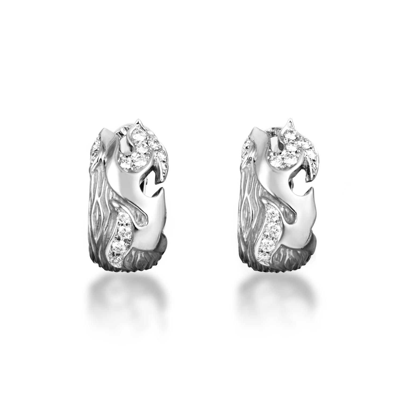 New Fire Small Women's 18K White Gold Diamond Huggie Earrings