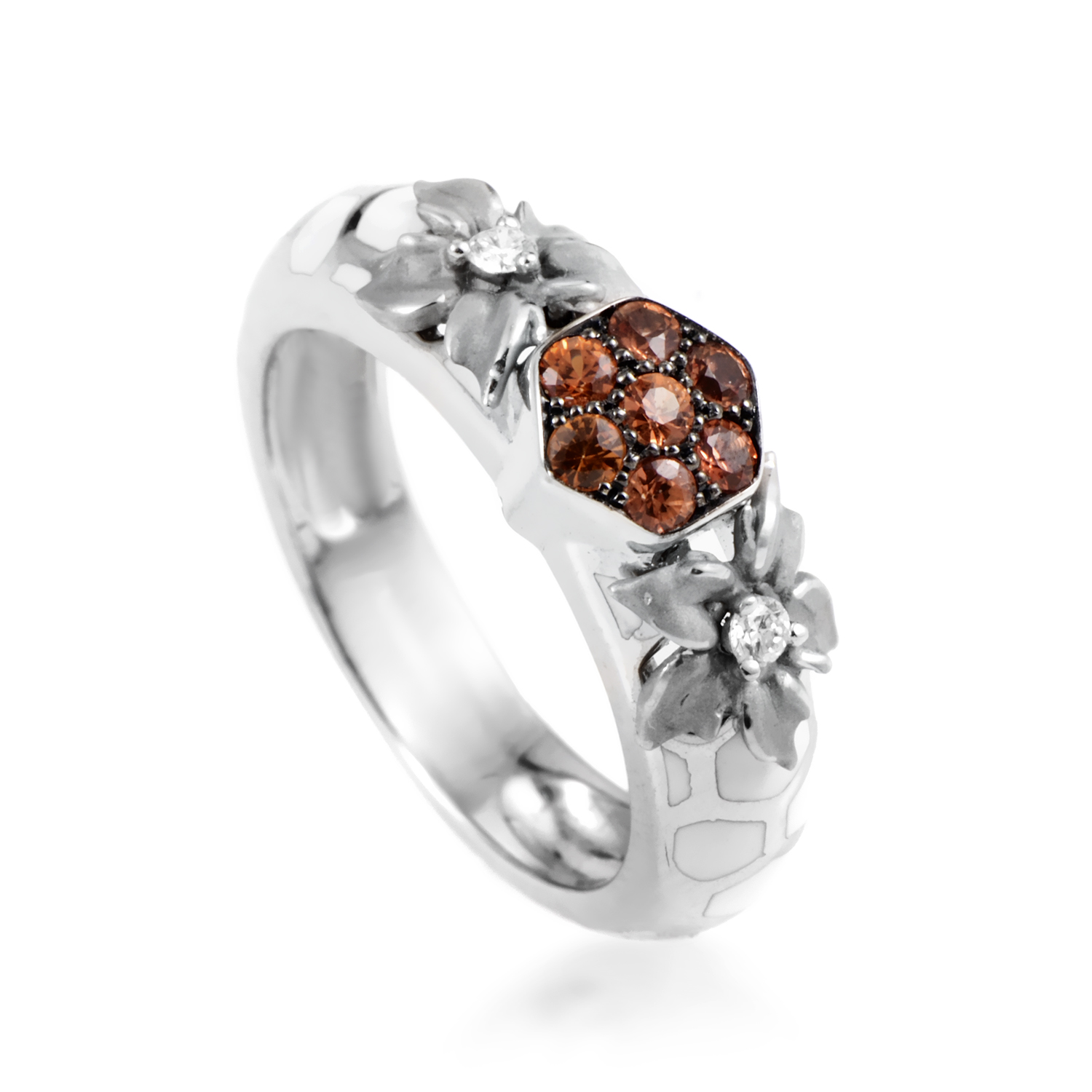 Nature Women's 18K White Gold Diamond & Orange Sapphire Flower Band Ring