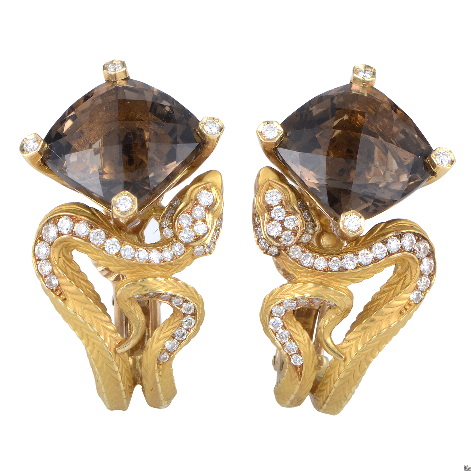 Mythology Women's 18K Yellow Gold Diamond & Smoky Quartz Snake Earrings