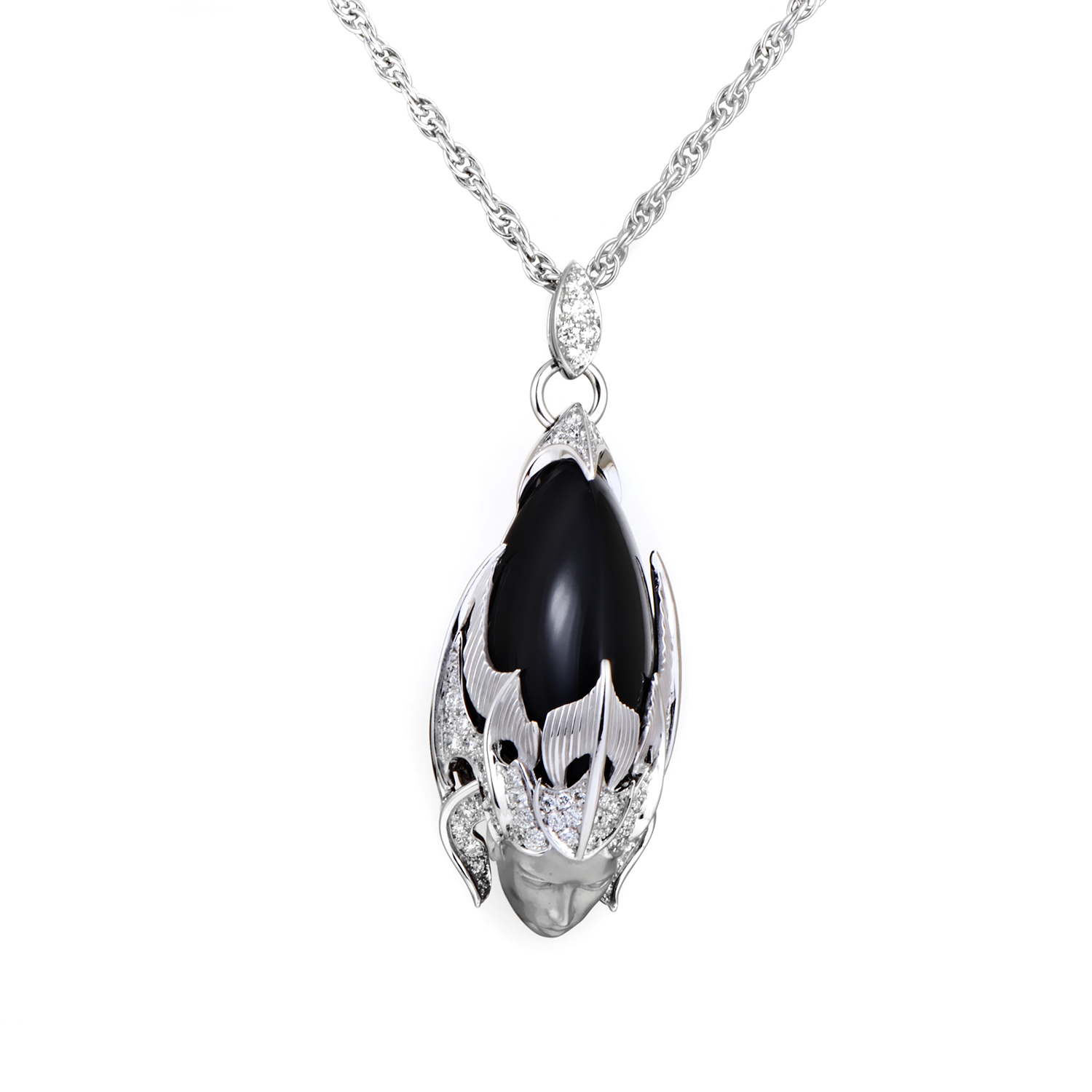 Atlantis Sirena Espuma 18K White Gold Diamond & Onyx Pendant Necklace