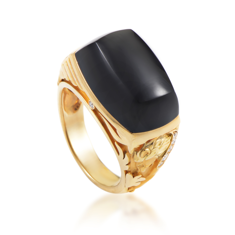 Babylon Caramelo Mini Women's 18K Yellow Gold Diamond & Onyx Ring