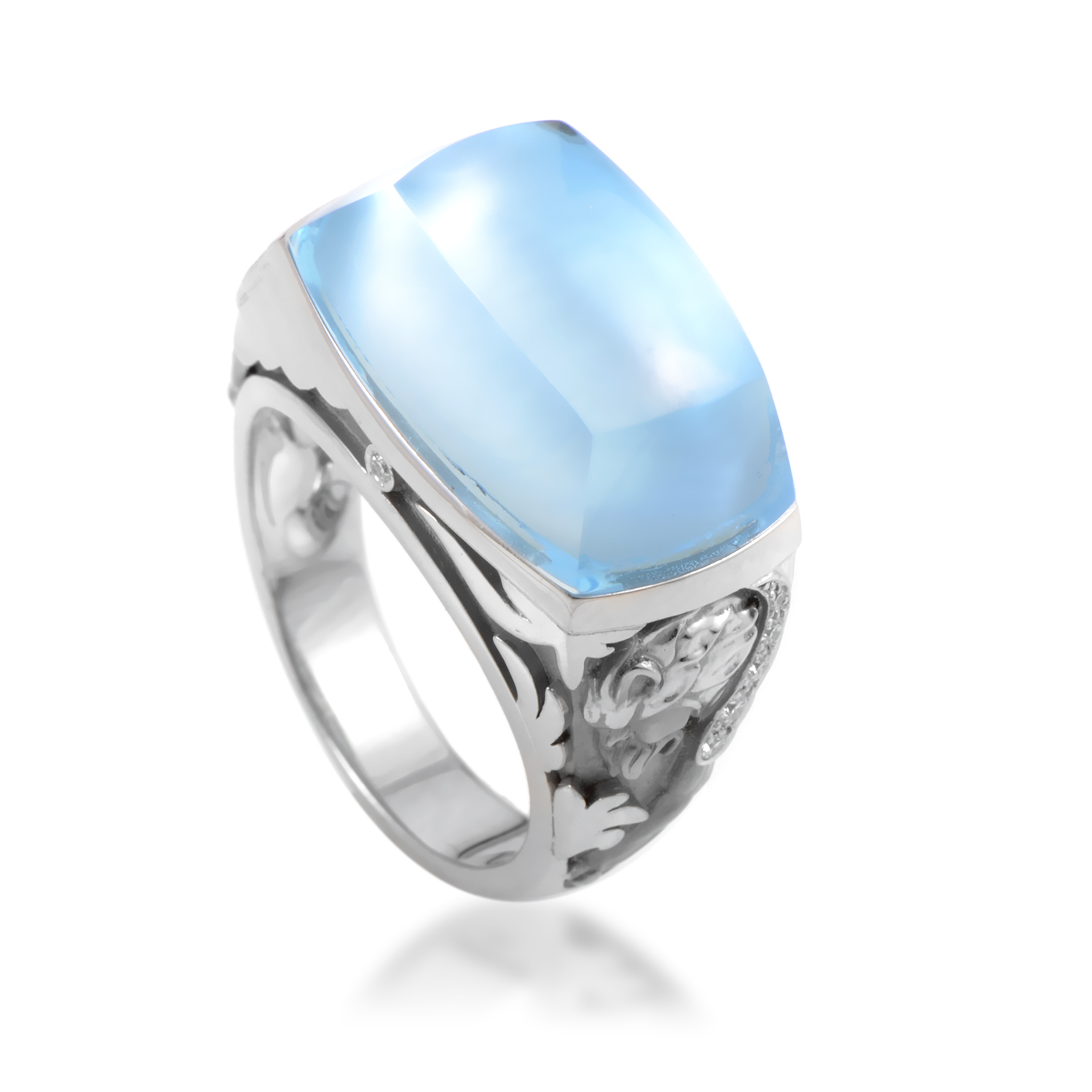 Babylon Women's 18K White Gold Diamond & Topaz Mother of Pearl Ring