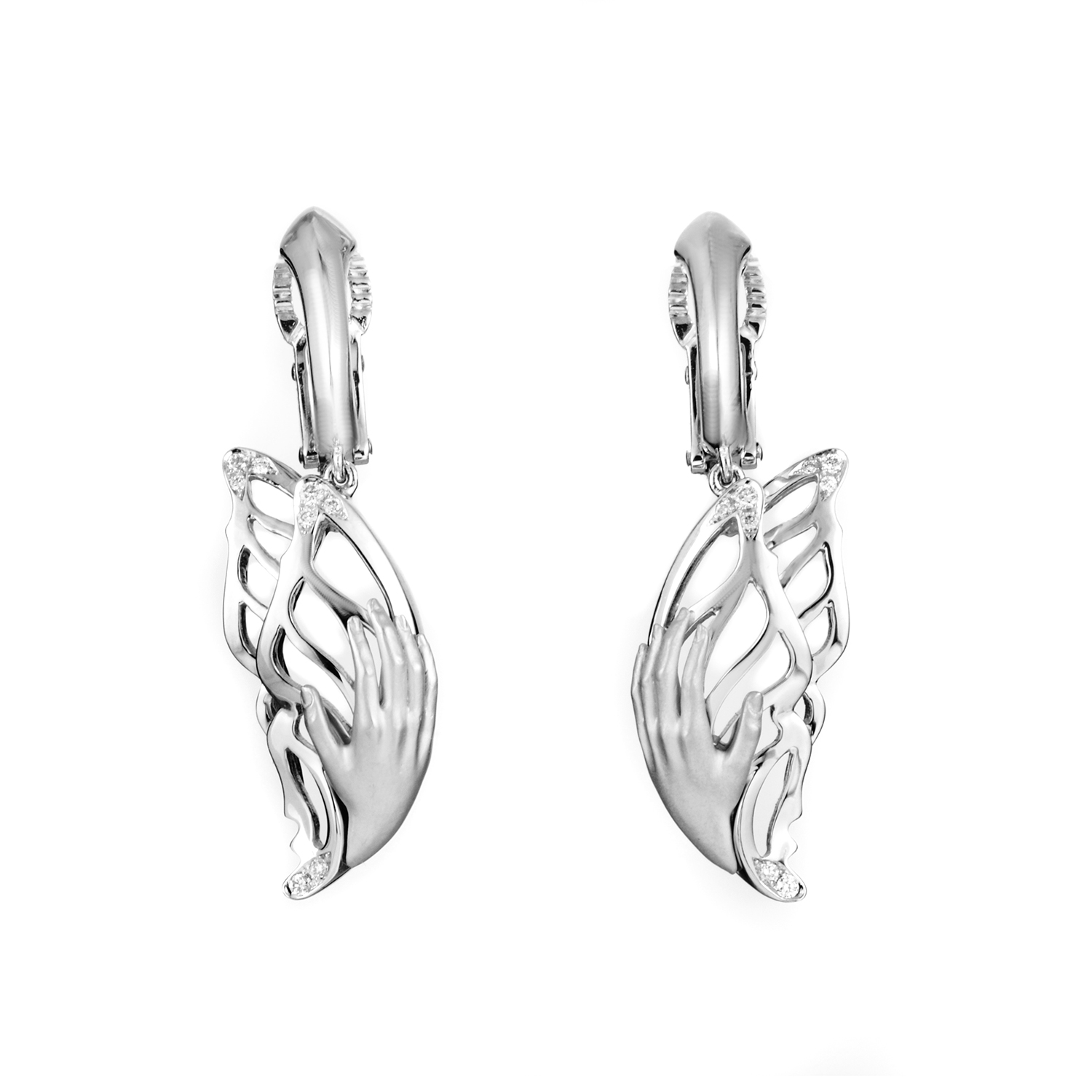 Versailles Women's Small 18K White Gold Diamond Mariposa Earrings