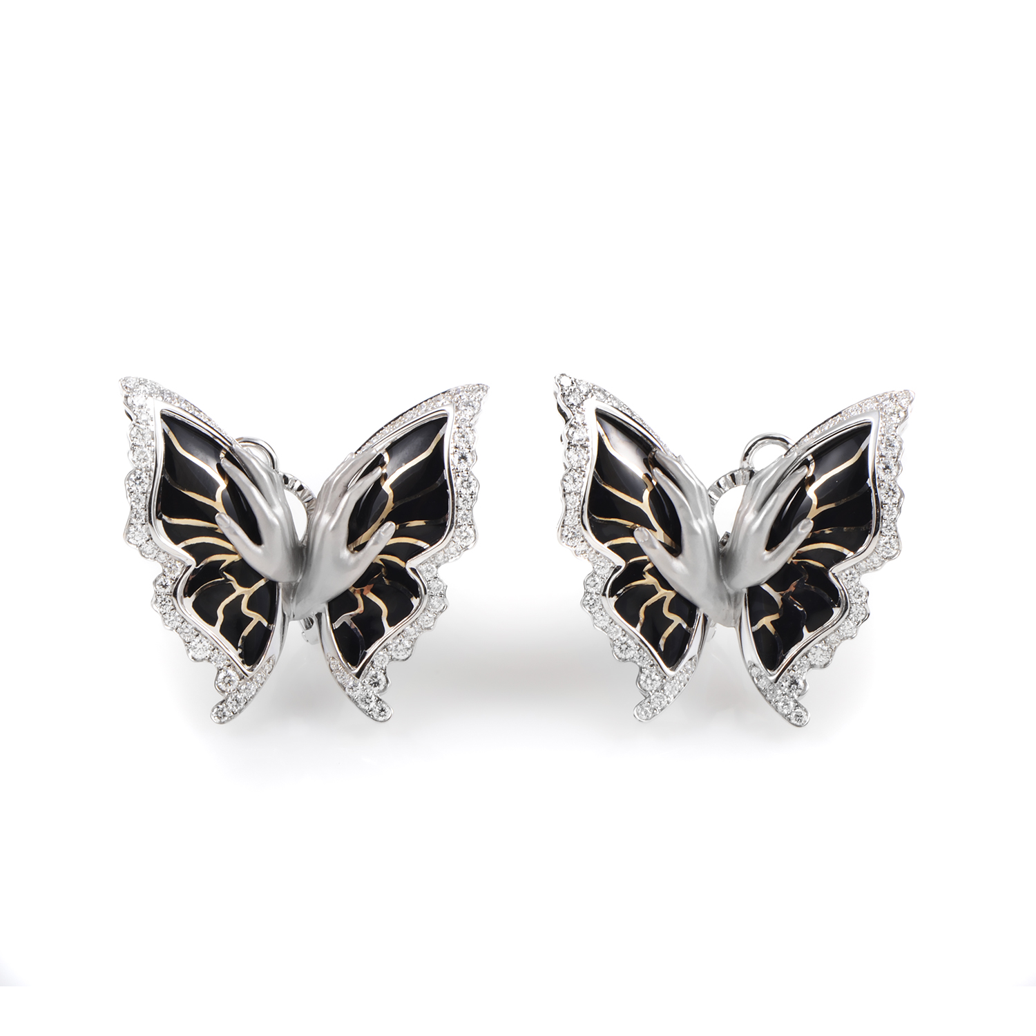 Versailles Women's Large Enameled White Gold Diamond Mariposa Earrings