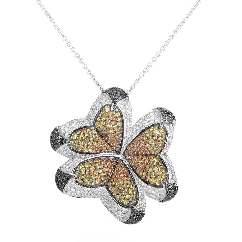 18K White Gold Multi-Diamond & Sapphire Butterfly Necklace PJ2978BL