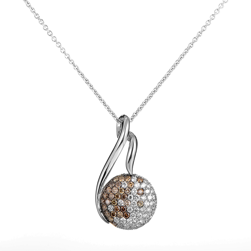 18K White Gold Multi-Diamond Pendant Necklace PJ3186BD