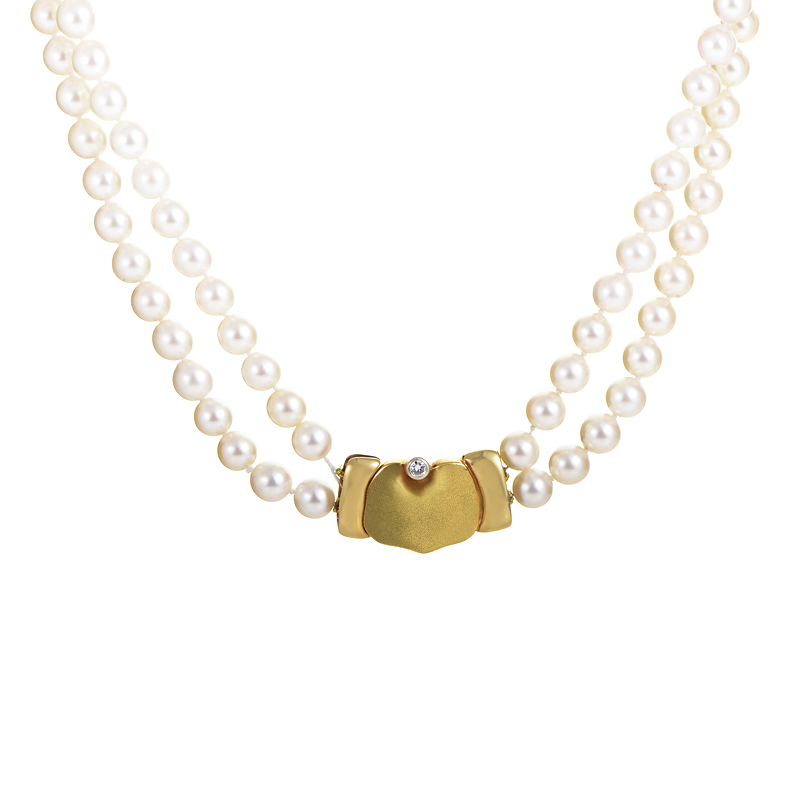 Manfredi 18K Yellow Gold Double Strand Pearl Necklace