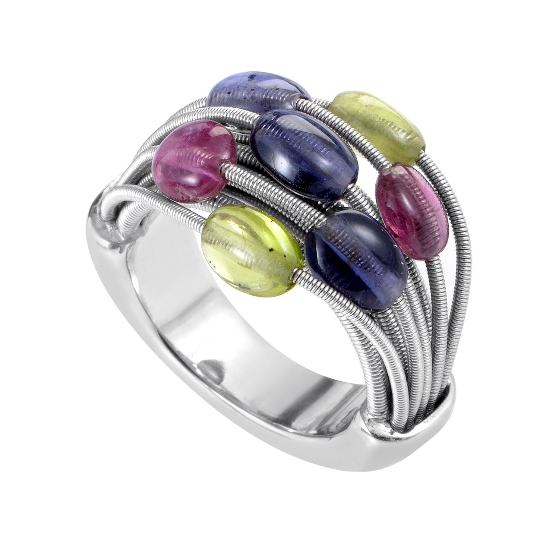 Women's 18K White Gold Multiple Gemstone Band Ring 200-00015