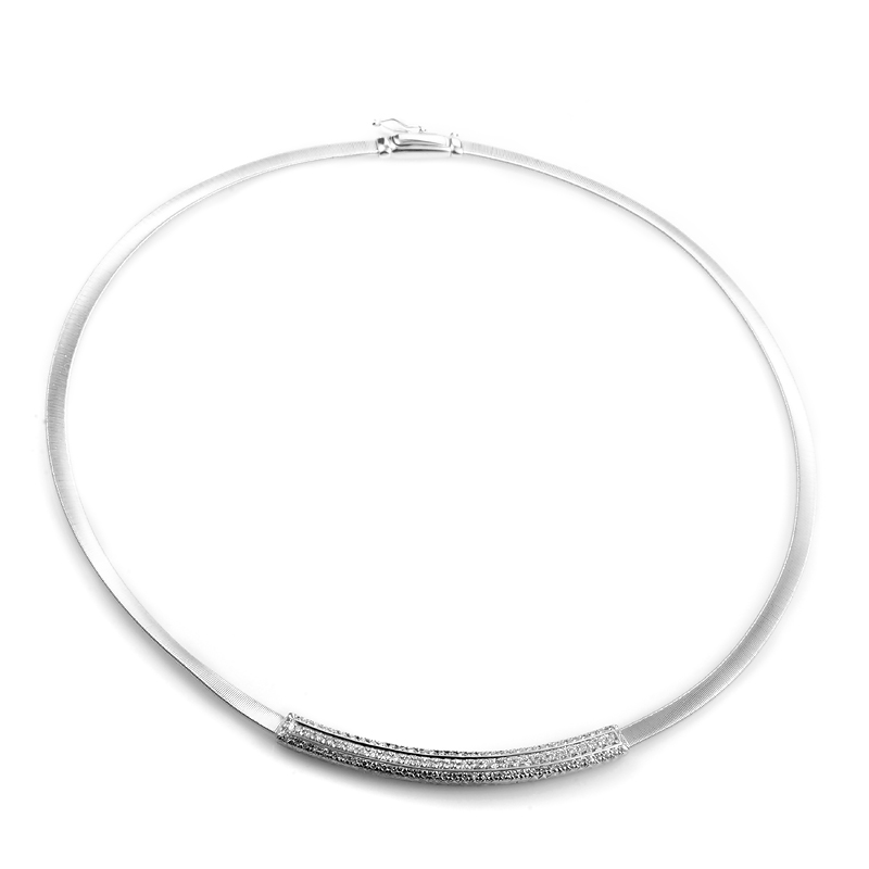 Women's 18K White Gold Partial Diamond Pave Collar Necklace